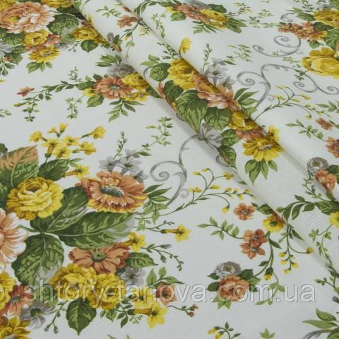 Декоративная ткань для штор, цветочный принт