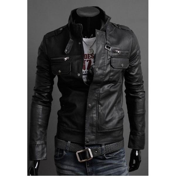 Мужская кожанная куртка осень - весна с искусственной кожой, фото 1
