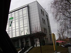 Вентилируемый стальной фасад, здание Приватбанка, г. Полтава 1