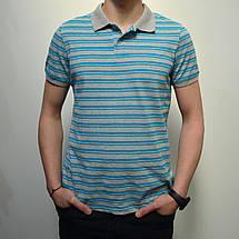 Размеры:46,48. Мужская футболка Поло, премиум качество, 100% хлопок, тенниска с воротником - бирюзовый цвет, фото 3