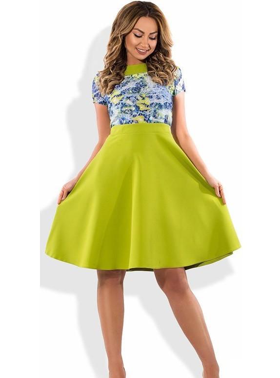 Модное женское платье салатовое размеры от XL ПБ-287