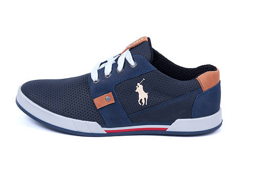 Мужские кожаные летние кроссовки, перфорация Polo blue