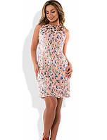 Красивое платье на лето персиковое размеры от XL ПБ-292