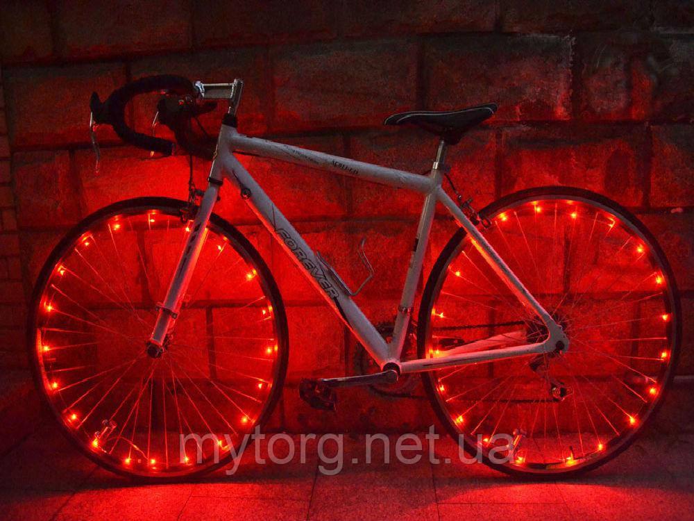 Светодиодная подсветка для велосипеда на спицы, 20 светодиодов  Красный, фото 1