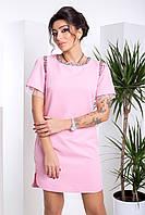 Короткое Нарядное Платье Декорировано Бисером и Сеткой Розовое XS-XL, фото 1