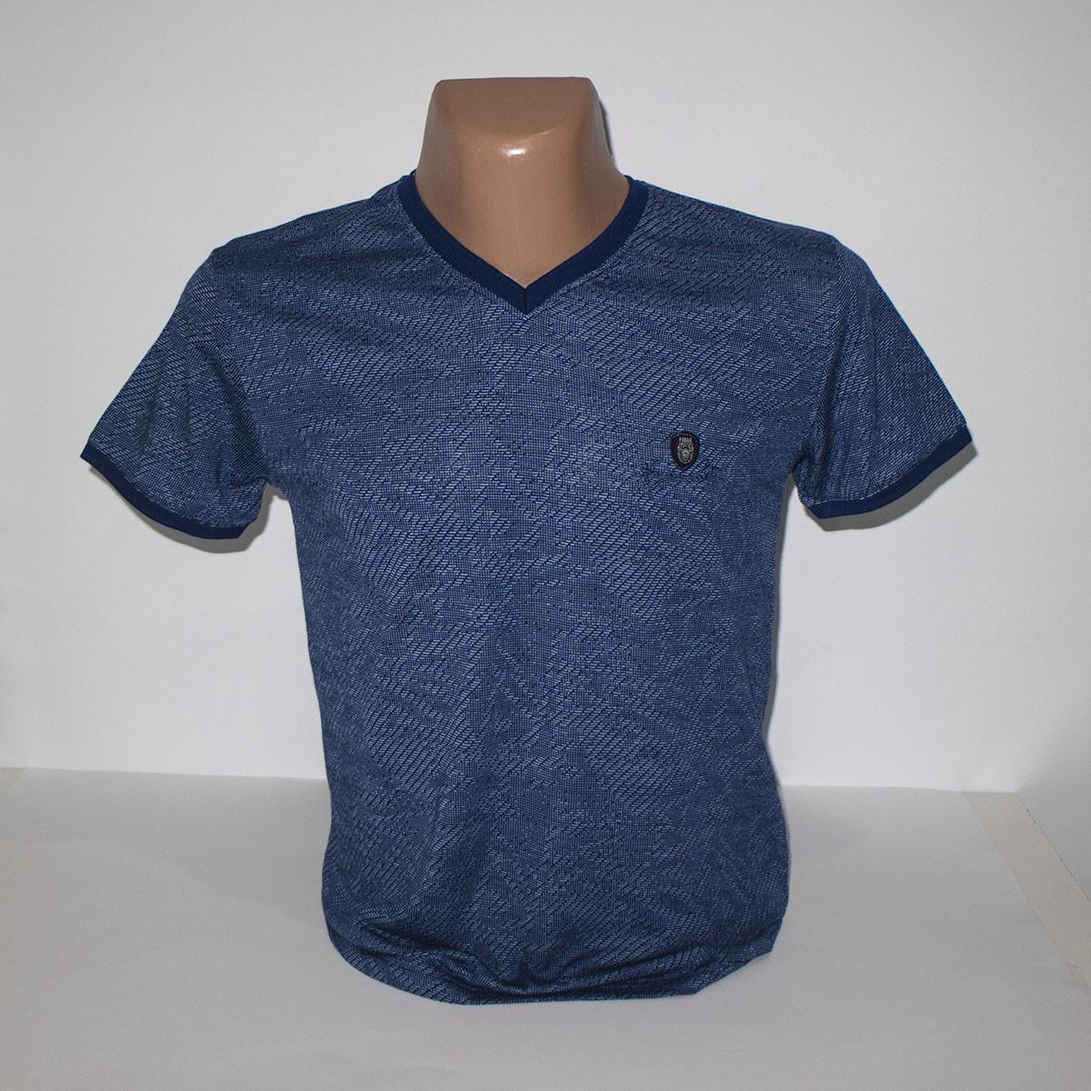 Мужская темно-синяя батальная с мысом футболка лайкра пр-во Турция N3005G