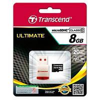 Карта памяти MicroSDHC 08Gb class 10 (SD адаптер) + USB ридер Transcend (TS8GUSDHC10-P3)