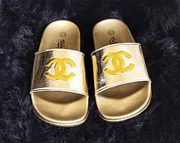 Акция  Золотистые шлепки (уличные тапки) женские в стиле Chanel, фото 3