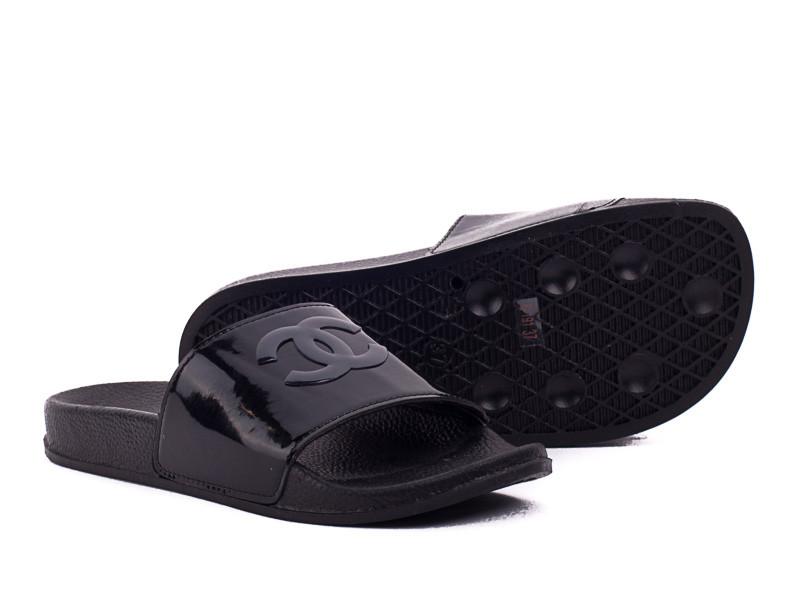 Акция Черные шлепки 36-38 (уличные тапки) женские в стиле Chanel шлепанцы тапочки