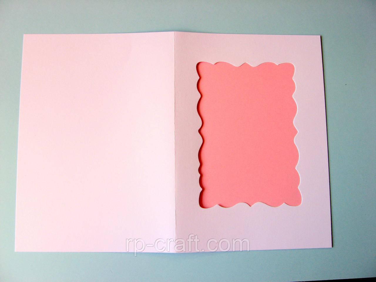 Заготовка для листівки з фігурним віконцем. 105х150 мм