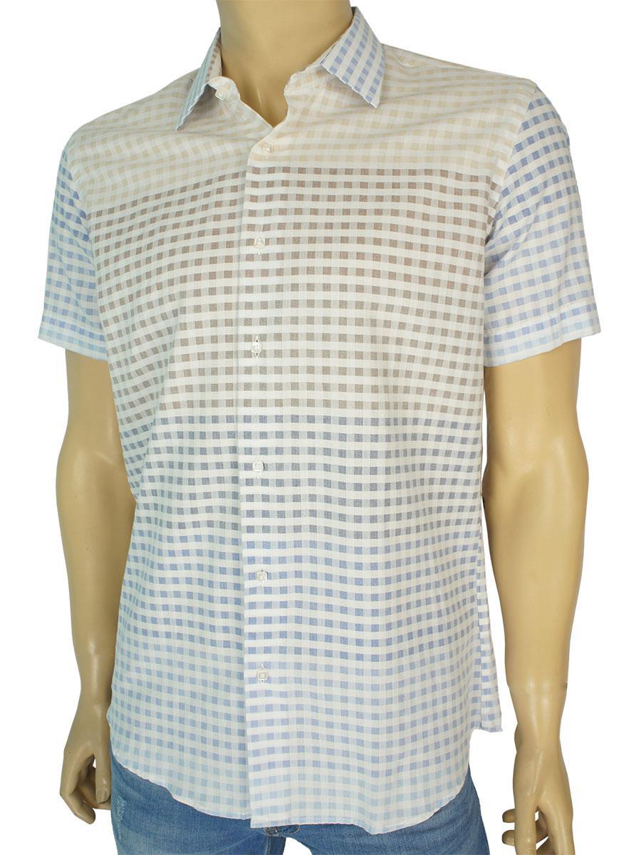 Светлая мужская рубашка Negredo 1040 Slim в клетку