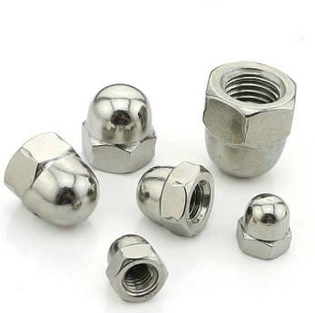 Гайка колпачковая М4 DIN 1587, ГОСТ 11860-85 из нержавеющей стали, фото 2