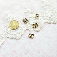 Мини пряжка для кукольной одежды и сумок, прямоугольная, 9*7 мм - бронза