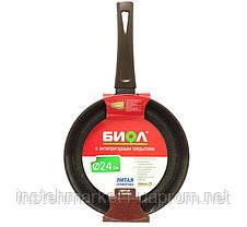 Сковорода БИОЛ Декор 28076П (діаметр 280 мм) алюмінієва з антипригарним покриттям без кришки, фото 3