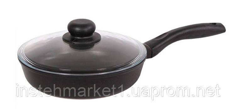 Сковорода БИОЛ 2207ПC (диаметр 220 мм) алюминиевая с антипригарным покрытием, бакелитовая ручка, крышка