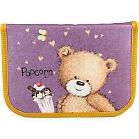 Пенал Kite Popcorn the Bear -  1 отдел + 2 отворота