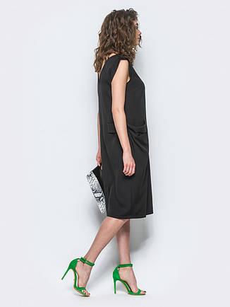 Незвичайне повсякденне плаття костюмна тканина чорний розмір 44,46,48,50,52, фото 2