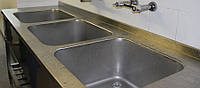 Ванна моечная трехсекционная штампованная из нержавеющей стали, фото 1