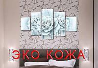 """Модульная картина на искусственной коже """"Ледяные розы""""108*60см"""