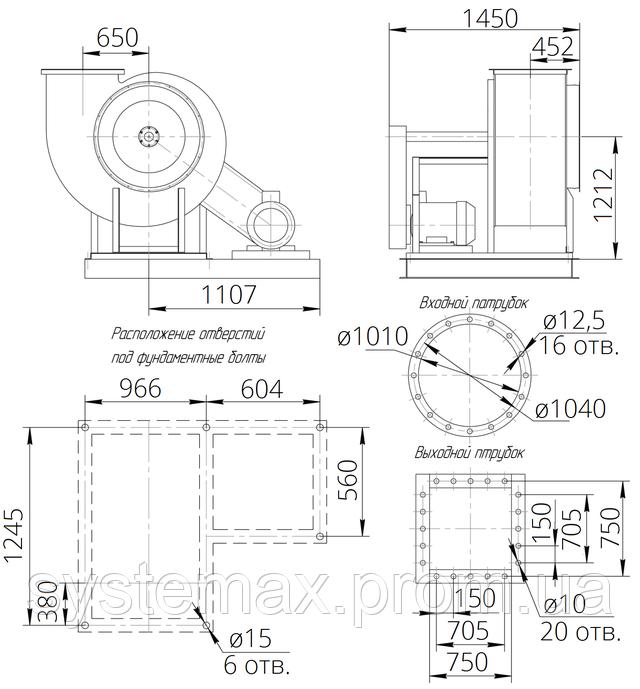 Габаритные и присоединительные размеры радиального вентилятора ВЦ 4-76 №10