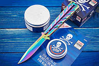Складной нож балисонг (бабочка) Индиго, яркий дизайн, отличный подарок парню