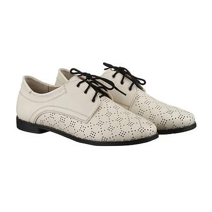 Бежевые туфли из кожи с перфорацией оптом, фото 2