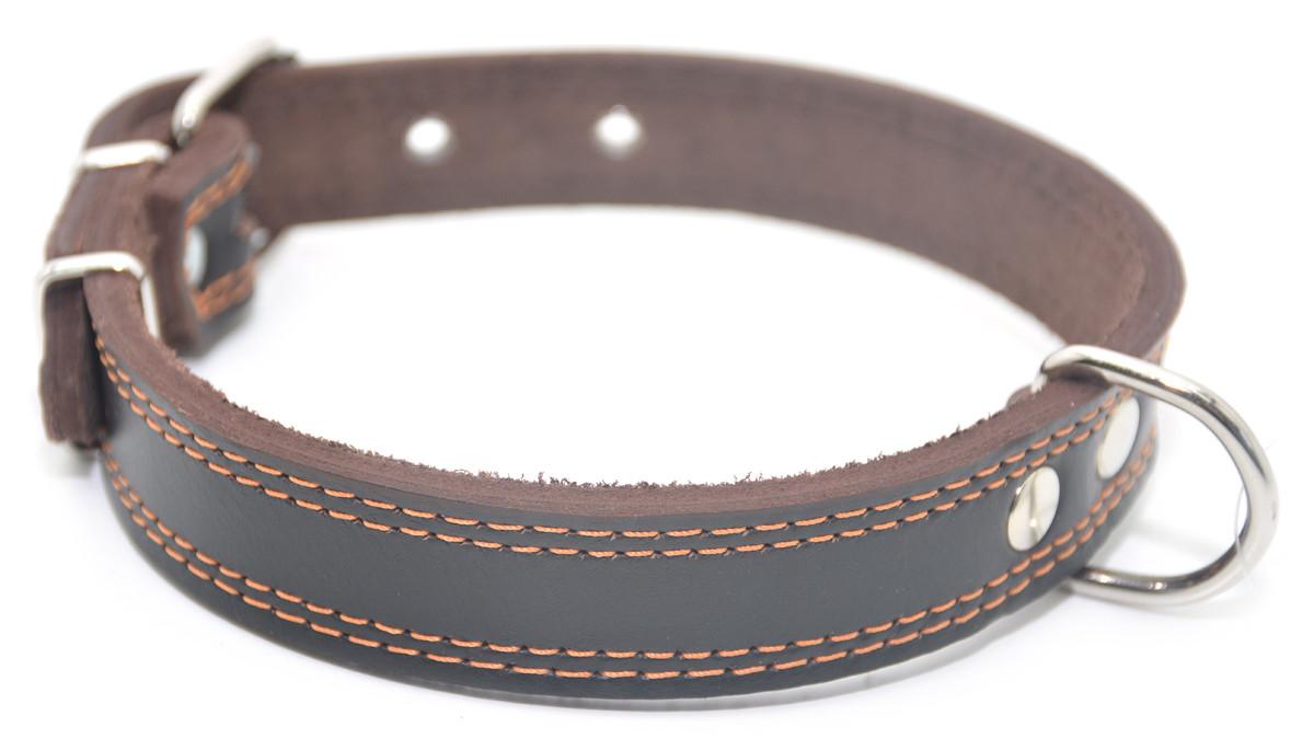 Ошейник для собак кожаный двойной ОД 2,5/36-45 коричневый