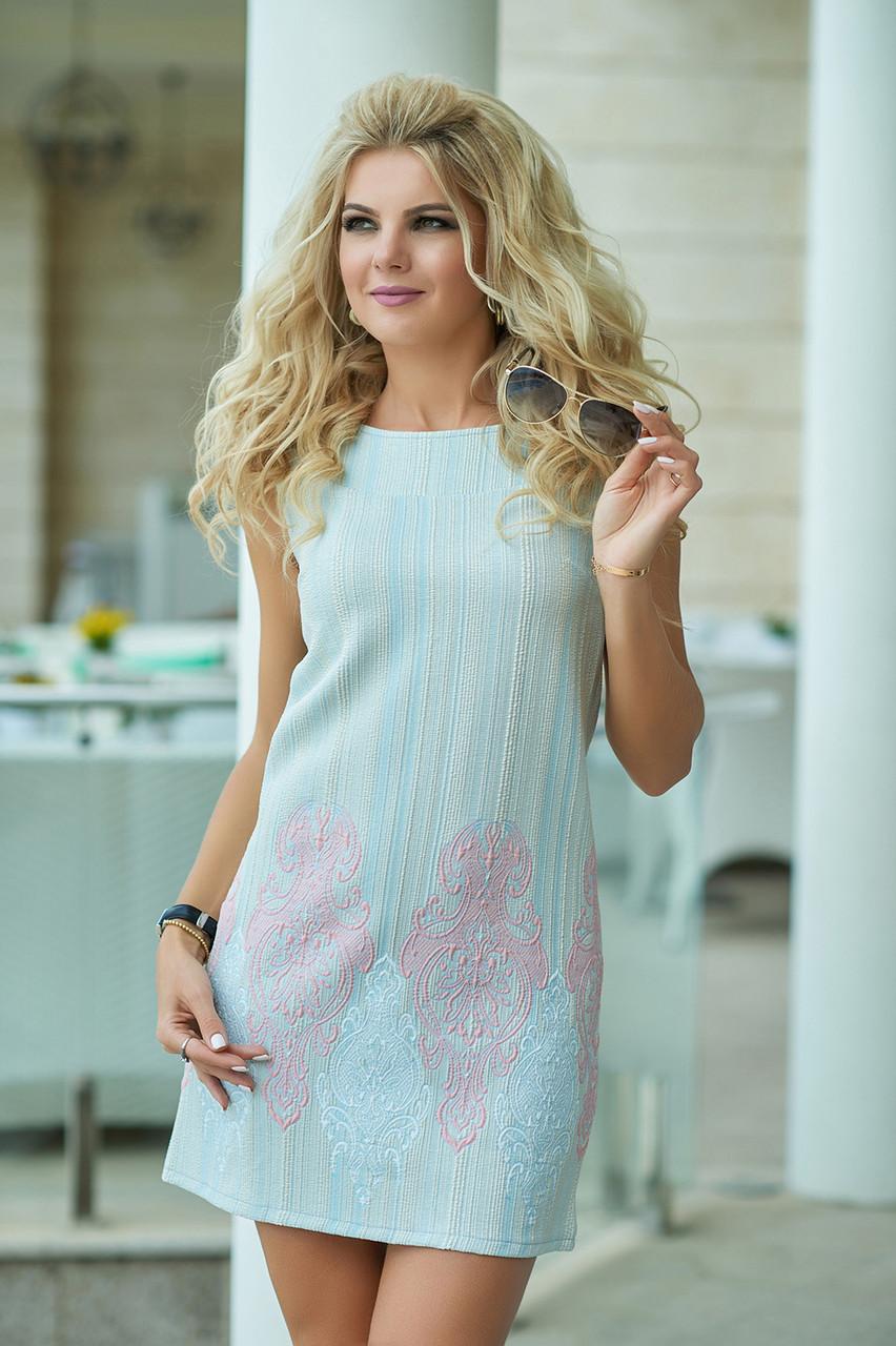 Нарядное летнее Платье Гортензия голубое