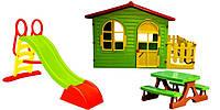 Детский садовый домик Mochtoys 10498+столик и лавочки 10722 + терраса + горка 3 цвета Польша