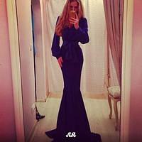 Платье в пол широкий рукав с манжетом