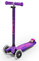 Самокат со светящимися колесами Micro Maxi Deluxe Purple LED