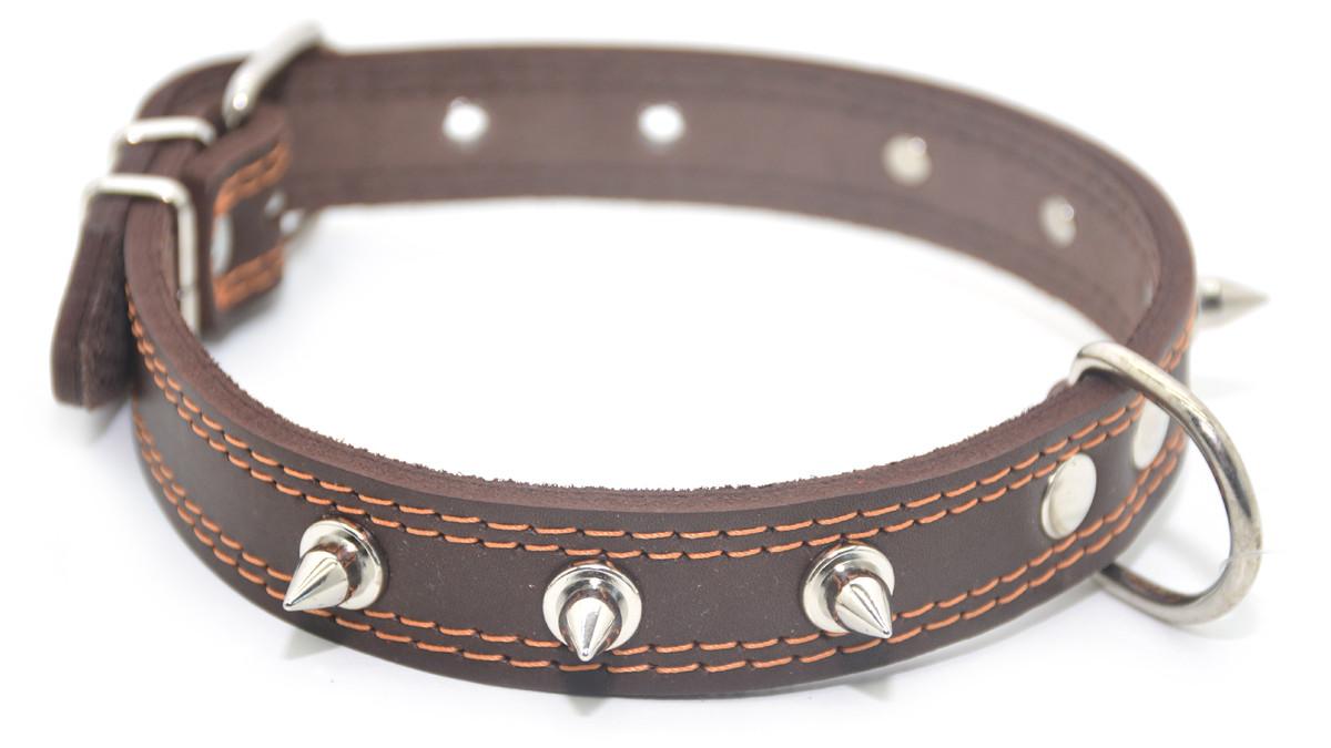 Ошейник для собак кожаный с шипами двойной ОДШ коричневый