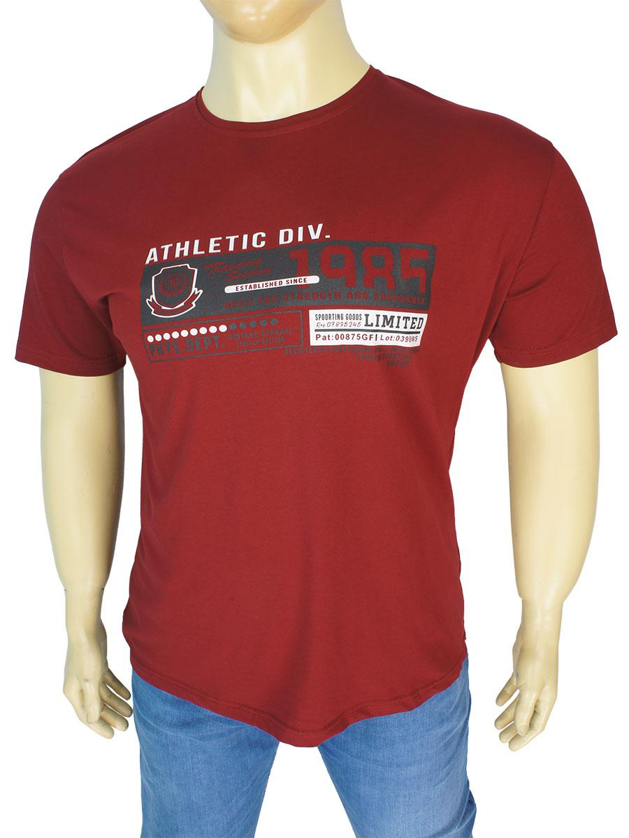 Бордова чоловіча футболка MS TREND 0300 bordo великого розміру