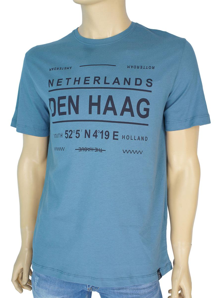 Стильна чоловіча футболка Fabianі 22472 duman синього кольору