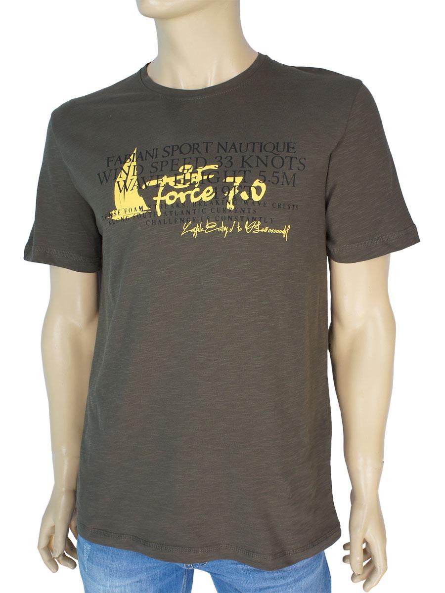 Чоловіча стильна футболка Fabianі 22136 haki кольору хакі