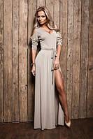 Платье в пол с прорезями на плечах и разрезом, фото 1