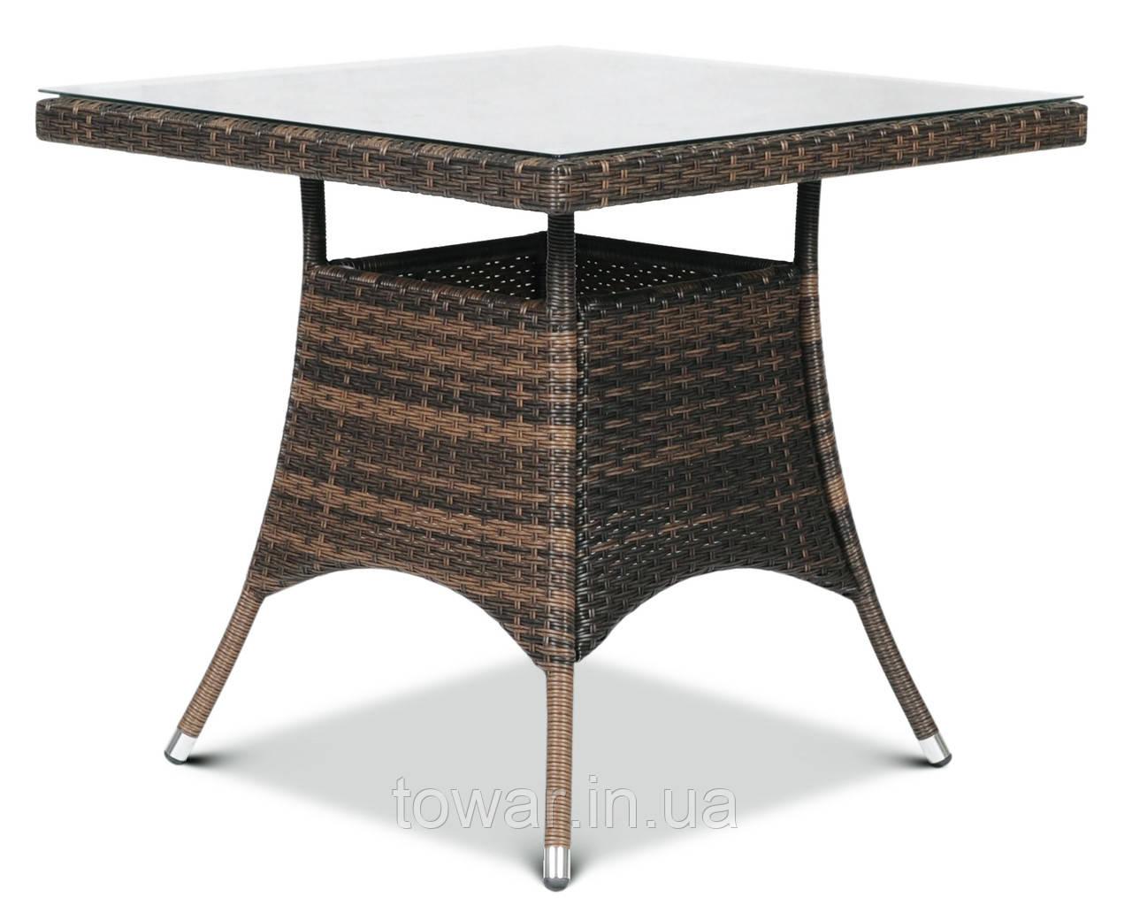 Садовый стол LUGO technorattan 80x80 для террасы