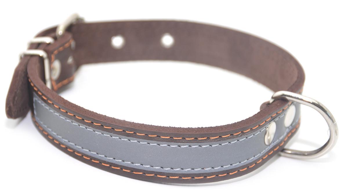 Ошейник для собак кожаный со светоотражателем ОО коричневый