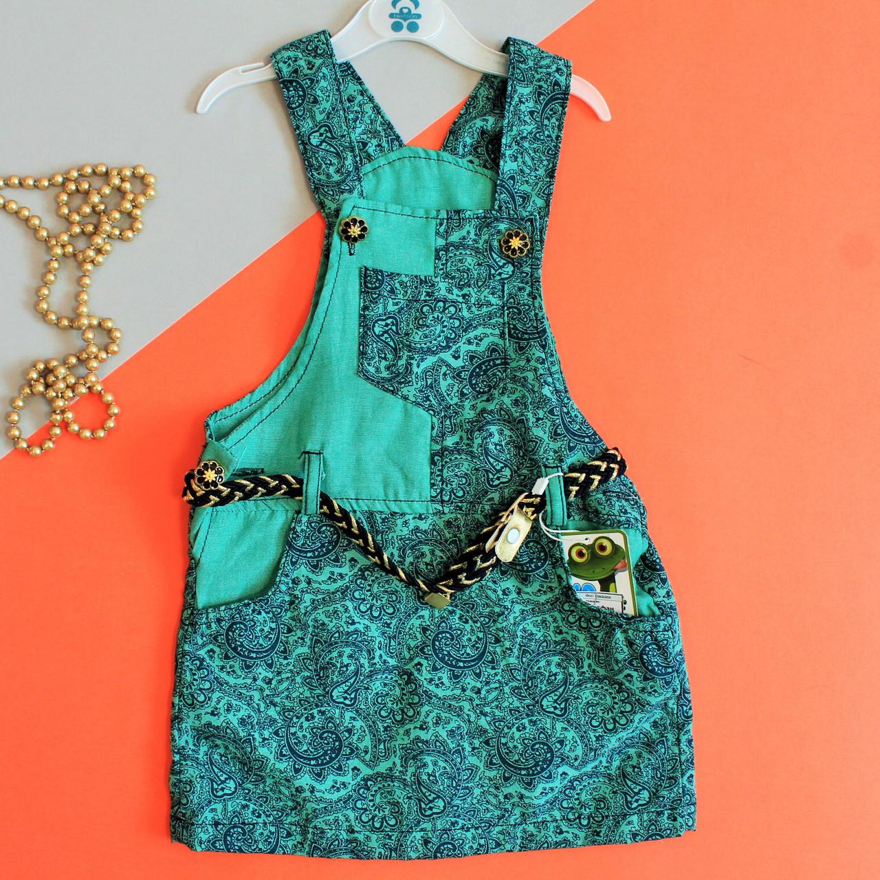Летний зеленый сарафан на девочку размеры 2 года
