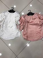 Блуза нарядная для девочки подростка с красивыми рукавами и бусинками