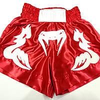 """Шорты для тайского бокса """"Venum red"""" атлас размер в ассорт"""