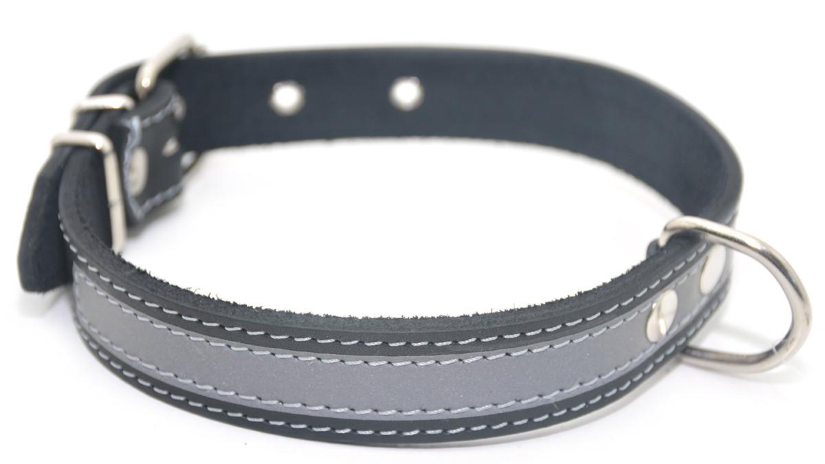 Ошейник для собак кожаный со светоотражателем ОО 1,8/28-36 черный