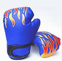 """Перчатки боксерские """"ПЛАМЯ"""" 6 oz,  синий"""
