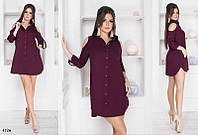 Платье-рубашка короткое плечи-вырезы лён 42-44,44-46, фото 1