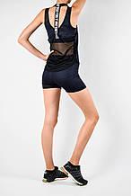 Женский спортивный комплект синий эластан камуфляж