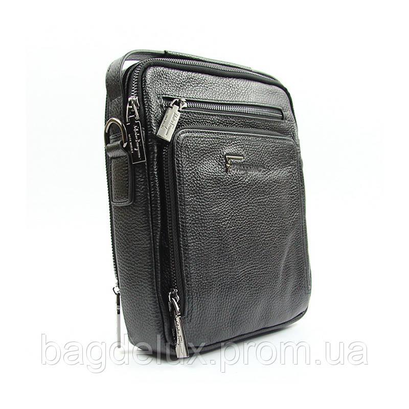 c948d7d5a112 Сумка мужская кожаная с ручкой черная малая Salvatore Ferragamo 9919-1 - Bag  De Lux