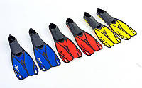 Ласты с закрытой пяткой (калоша цельная) DORFIN PL-436 (р-р XL(44-45), желтый, синий, красный)