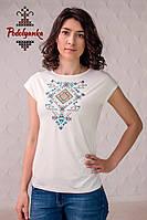 Жіноча блуза Геометрія на молочному, рукав-кімоно, фото 1