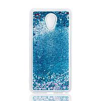 Чехол Glitter для Meizu M5 Note Бампер Жидкий блеск синий
