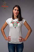 Жіноча блуза Троянди на молочному, рукав-кімоно, фото 1